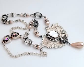 White on White Shabby Style Necklace Re-Purposed Antique Jewelry Focal, MOP, Pearls and Rhinestones VN154