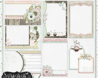 On Sale 50% Shabby Chic,Journal and Pocket Scrapbooking,Clip Art,Digital Scrapbook Kit, Scrapbooking,Project life