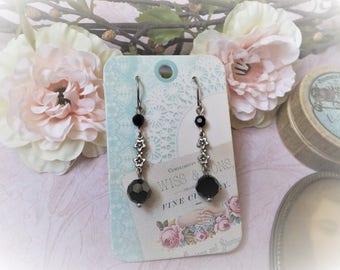 Earrings Art Nouveau black crystal and silver metal