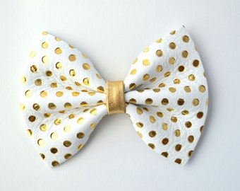 White Leather Gold Metallic Polka Dot Bow Clip for Newborn Baby Little Girl Child Photo Prop Holiday Fall Pictures