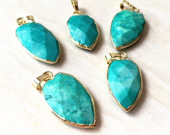 Blue Turquoise Shield Shaped Pendant // Gold Turquoise Necklace // Turquoise Shield Pendant with Electroplated Gold Bail (SD81_10)