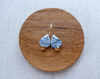 Gem and Raindrop Hoop Earrings