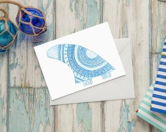 Mandala surfboard surf fin blue greeting card - Australian surfer Card - A6 watercolour print