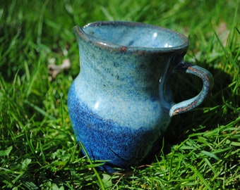 Small Blue Pitcher | Handmade Wheelthrown Pitcher, Colorful Creamer, Cheerful Maple Syrup Holder, Ceramic Pottery Pitcher