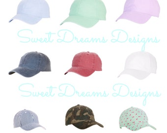 Youth & Ladies Monogrammed Baseball Cap - Many Colors