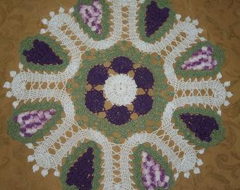 Crochet Grapes Doily  Pattern