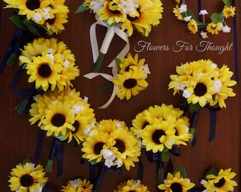 15pc Sunflower Wedding Package, Rustic Bridal Party Flower Arrangements, Shabby Chic Bridesmaid Bouquets