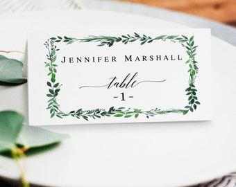 Greenery place card template DIY place cards printable Greenery seating card template Wedding seating cards Greenery table decorations #vm55
