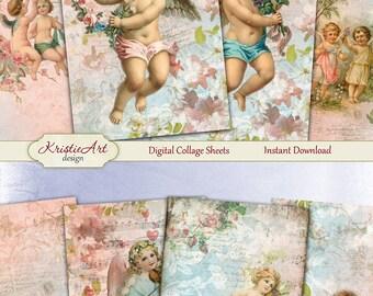 75% OFF SALE My little angel - Digital Collage Sheet Digital Cards C142 Printable Download Valentine's Image Digital Image Angels Atc Cards