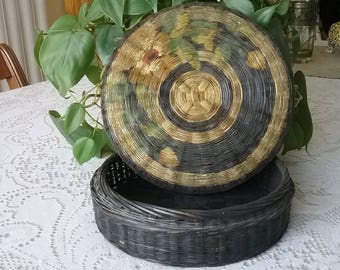 Vintage Asian Wicker Basket with Handpainted Lid  / ***FREE SHIPPING***