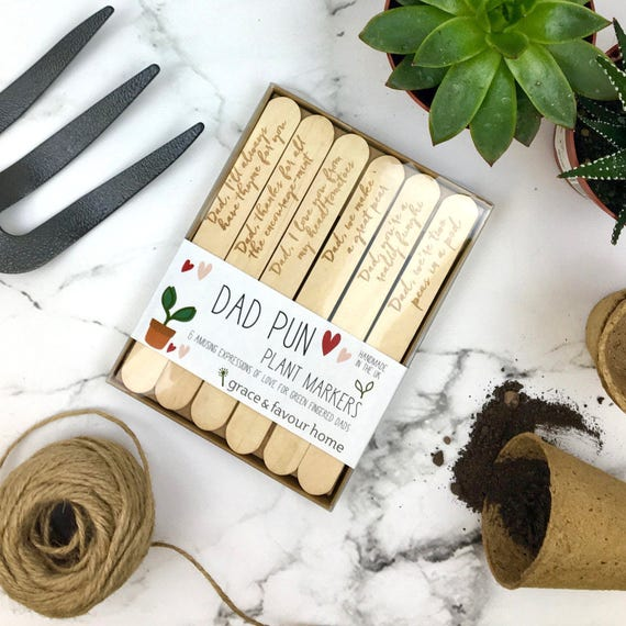 Fathers Day Wooden Plant Markers, Fun Gift For Dad, Amusing Gardening Puns  Present For Daddy, Set Of Six, Personalised Gift Tag, Custom, ...