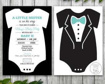 Little mister invite etsy baby bodysuit shower invitation little mister baby tuxedo baby shower for boy filmwisefo Choice Image