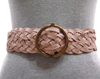 Vintage Talbots Mauve Leather Belt Braided Leather Belt Womens Leather Braided Belt Womens Vintage Woven Belt