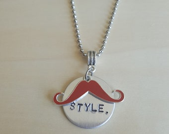 "STYLE hand stamped 1"" round pendant with handlebar mustache charm and 24"" ball chain"
