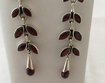 Garnet 925 Sterling Silver Dangle Drip Filagree Earrings