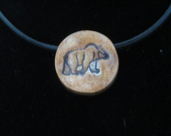 Bear necklace- black leather cord, magnetic clasp
