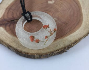 Orange Baby's Breath Resin Necklace