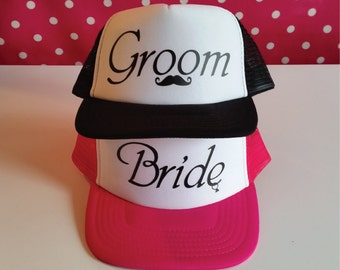 Bride and Groom Trucker Hat Set. Set of Wedding Party Hats. Wedding Gift for the Couple. Honeymoon Gift. Bride Hat. Groom Hat. Snapback.