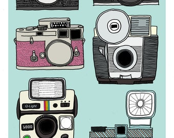 A4 Retro cameras collection print - The Flash parade petrol blue, grey and pink