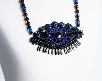 Chunky blue eye necklace - large statement necklace - dark blue necklace - black big necklace - embroidered necklace - protection necklace