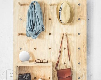 Pegboard HALL SET, Bookcase, Pegboard,  Modern Plywood Wall Peg, Open Shelving, Office Shelves, Display Shelf