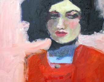 "Square Giclee Art Print of an Original Abstract Oil Portrait, Woman with Black Hair in a Red Dress - ""Maddie"" 8 x 8"