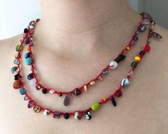 Confetti Chain Stitch Crochet Necklace Kit