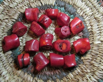 2, 5, or 10 Red Coral Chunk Beads- about 15mm wide- Rough, rugged, drilled slices or cross sections of common bamboo coral with dyed color