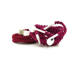 Gift Set for Her iPhone 6 7 8 Charger Cable & Wrapped Tangle Free Earbuds EarPods Headphones for iPhone in GEMMA