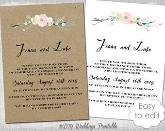Rustic Wedding invitation templates suite DIY Rustic