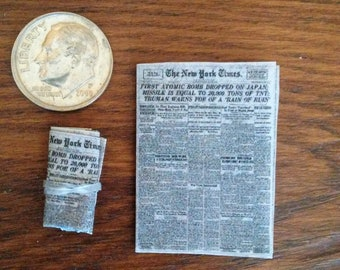 1:12 Scale Dollhouse Newspapers - Set of 2