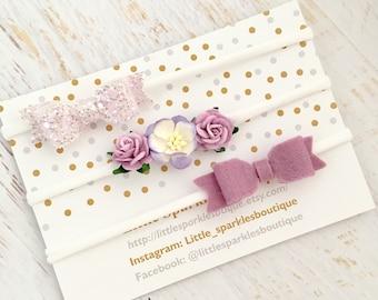 Lilac hair bow, baby bow, flower headband, baby headband, lilac glitter bow, baby/girl hair bow,  wedding hair, christening