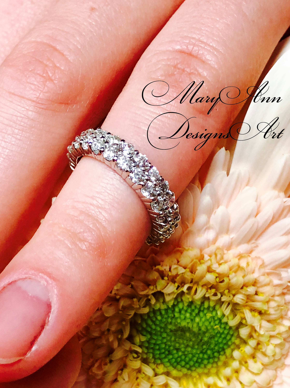 4.25 Ct. Ladies Two Row Diamond Eternity Wedding Band Ring