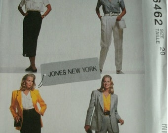 Misses Lined Jacket, Top, Skirt and Pants Size 20 McCalls Pattern 6462 Jones New York Designs Excellent Condition UNCUT Pattern 1993