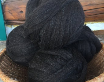 Combed Shetland Wool Top- black with silver, four ounces