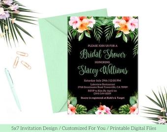 Tropical Bridal Shower Invitation / PRINTABLE Tropical Bridal Shower Invite / Floral Tropical Bridal Shower / Luau Bridal Shower / Black