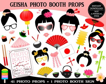 PRINTABLE Geisha Photo Booth Props–Japan Photo Booth Props-Bridal Shower Photo Props-Asia Photo Props-Travel Photo Booth-Instant Download