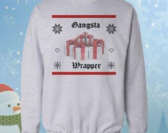 Gangsta Wrapper - Ugly Christmas Sweater - Gangster Rap Parody