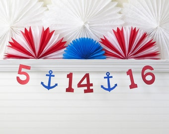 Anchor Save the Date Banner - Glitter 5 Inch Numbers - Wedding Banner Nautical Wedding Date Banner Custom Colors Photo Prop Engagement Photo