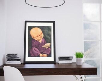 Little Buddha art reproduction print
