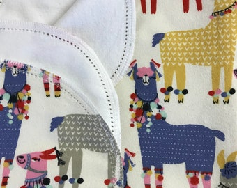 Llama Llama hemstitch flannel baby blanket and burp cloth, double sided flannel receiving size 36x40. Perfect swaddle.
