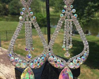 Large Chandelier Earrings | Long Chandelier Earrings | Miss America Earrings | Long Pageant Earrings | Statement Earrings