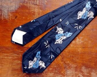 Vintage 1950s Midnight Blue Necktie, Beau Brummell