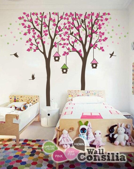 Baby Kinderzimmer Wandtattoo   Vogelhaus Baum Wall Decal   Zwei Bäume Mit  Vogelhäuschen   Large: Ca. 84 X 92 U0027u0027   KC014
