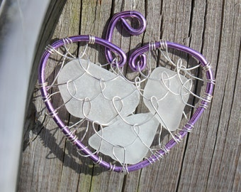 Purple Heart White Sea Glass Love Necklace Beach Glass Pendant