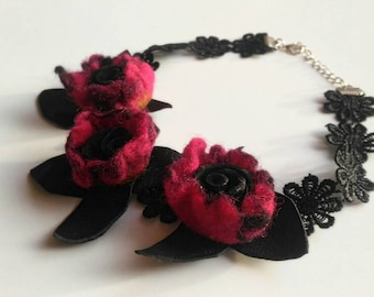 Felt Flower Necklace, Romantic Rose Necklace, Black and Red Necklace, Statement Jewelry, Leather and Lace, Art Multi Layer