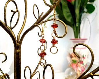Beaded Wire Earrings by Anne O'Brien Design / Amber Beads Wrapped in Gold Wire Earrings