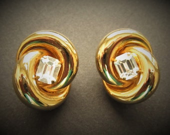 Large TWISTED GOLD with Emerald Cut Rhinstone Feature Clip On Earrings