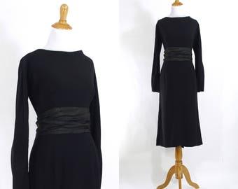 Vintage 1950s Dress   50s Black Crepe Wiggle Dress with Tuxedo Satin Sash   Large L
