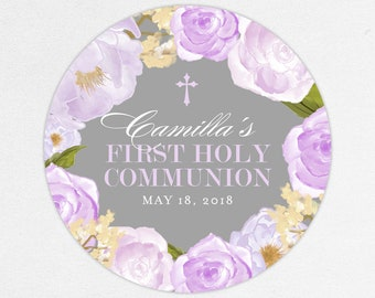 Purple First Communion Stickers, Girl Communion Stickers, Purple First Communion Labels, Flower Communion Stickers, Printed Communion Labels